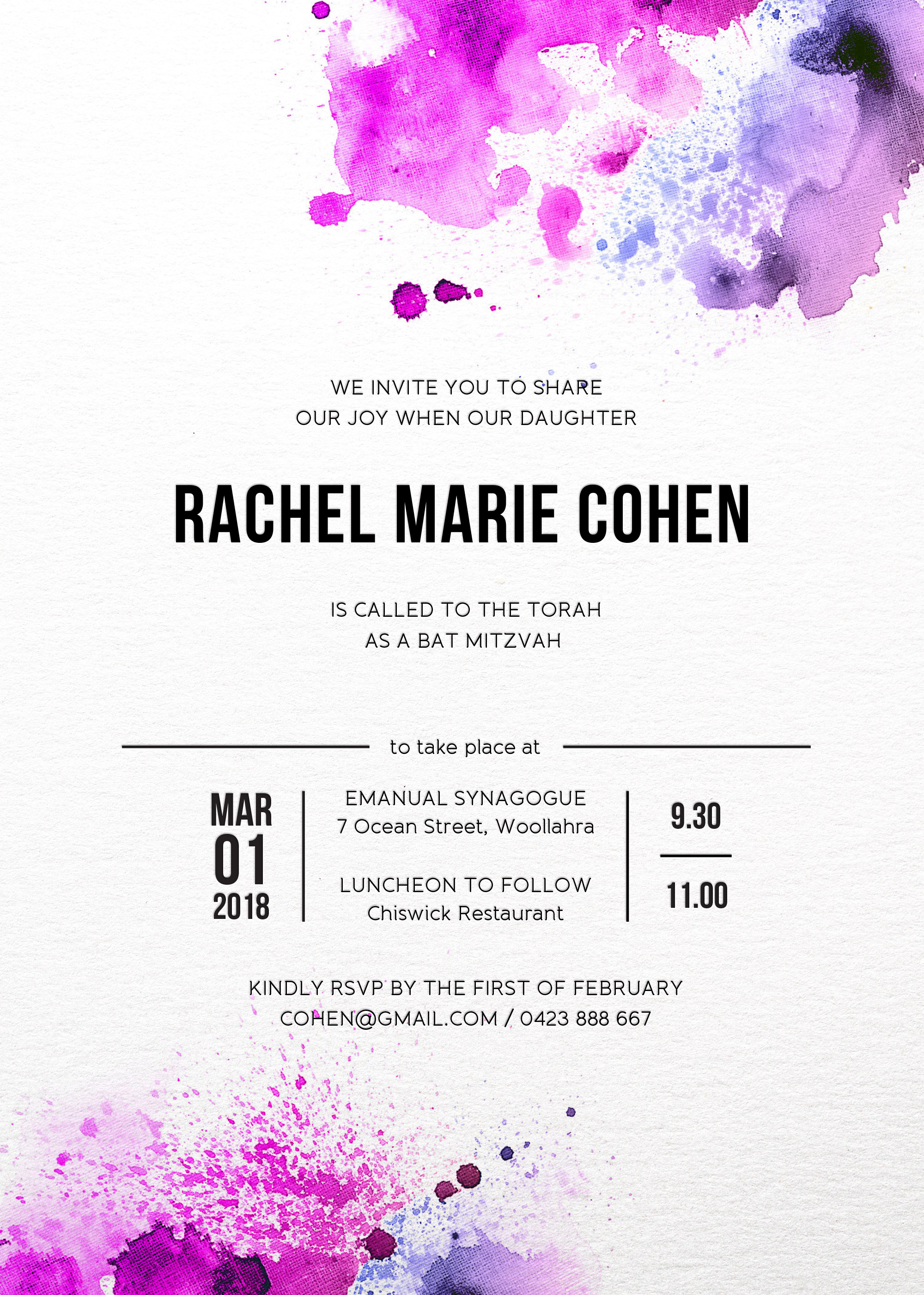 Watercolour splash - Bat Mitzvah Invitations