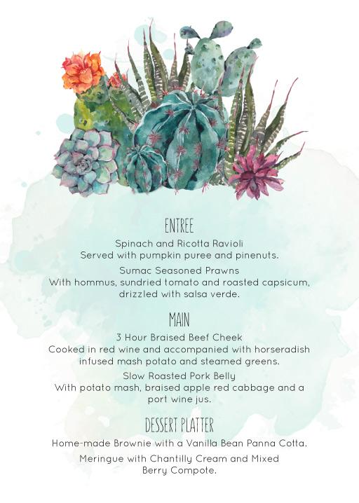 Cactus Hour - Wedding Menu