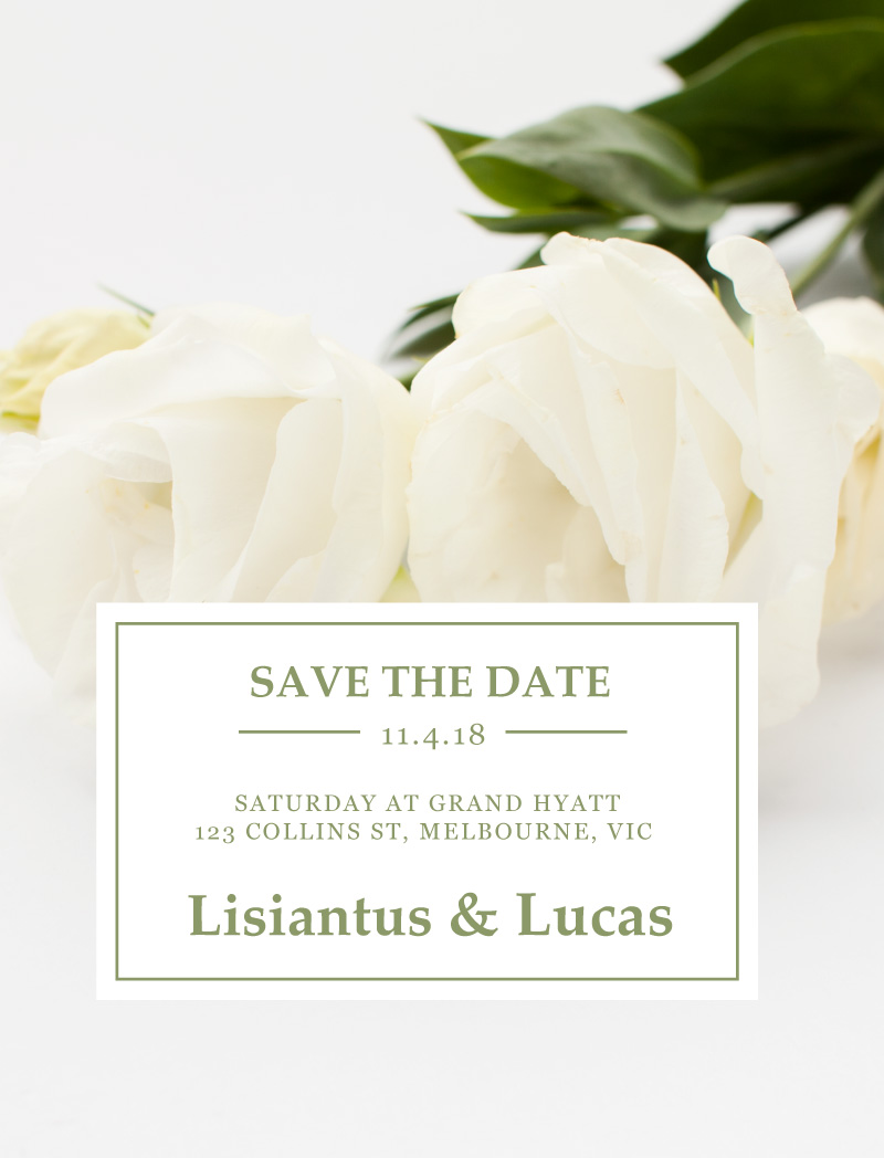 White Lisianthus - Save The Date