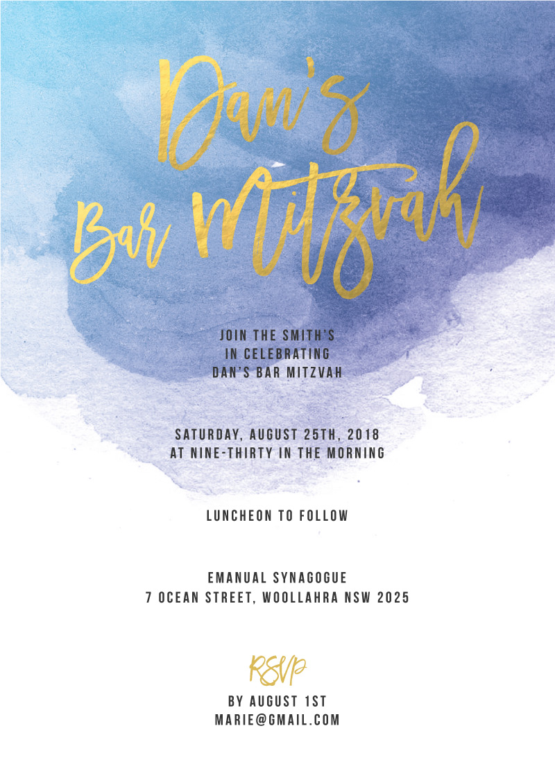 Aquarelle - Bar Bat Mitzvah Invitations