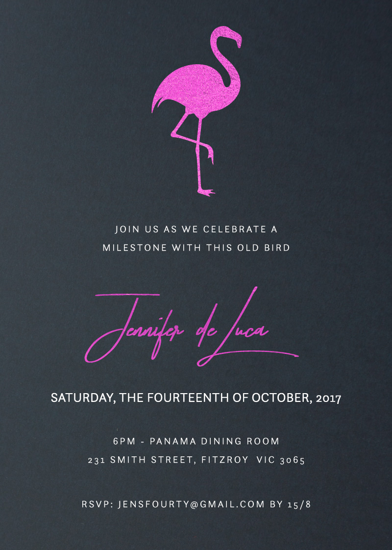 This Old Bird - Flamingo Birthday Invitations