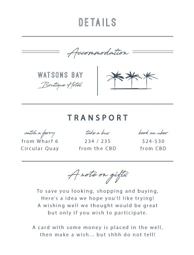Watsons Bay Hotel - Information Cards