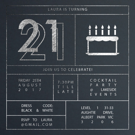 Funky Foil Invites - birthday invitations