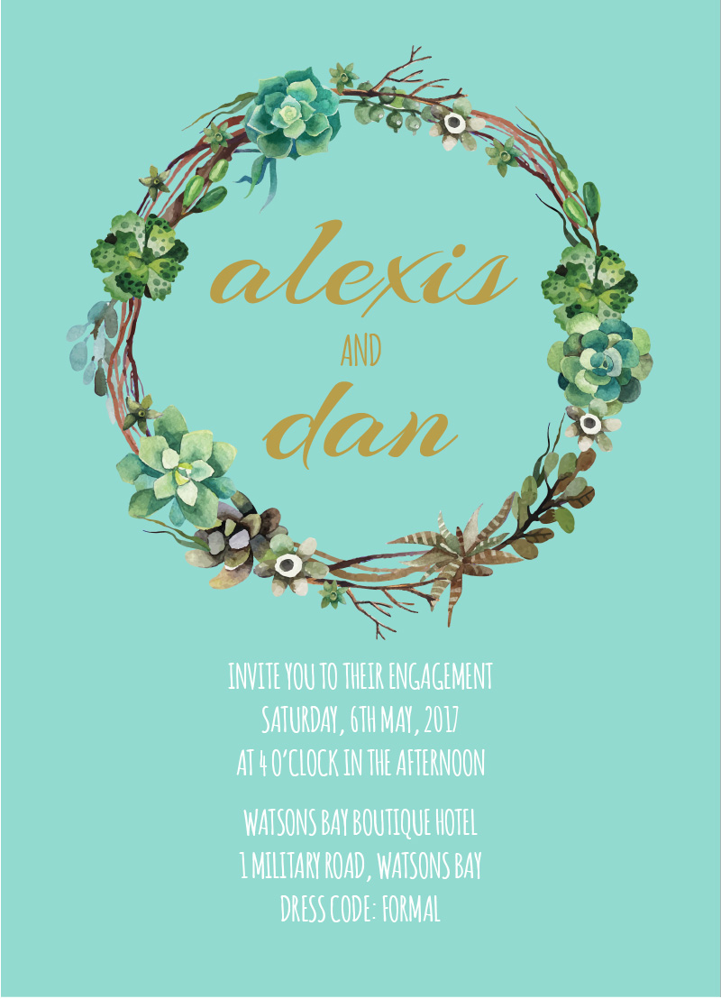 Succulence - engagement invitations