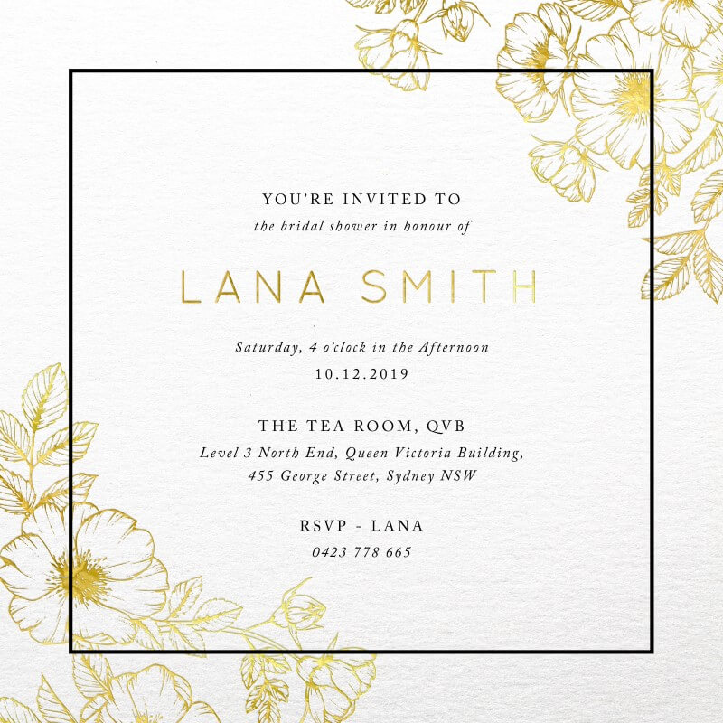 Floral Border - Bridal Shower Invitations