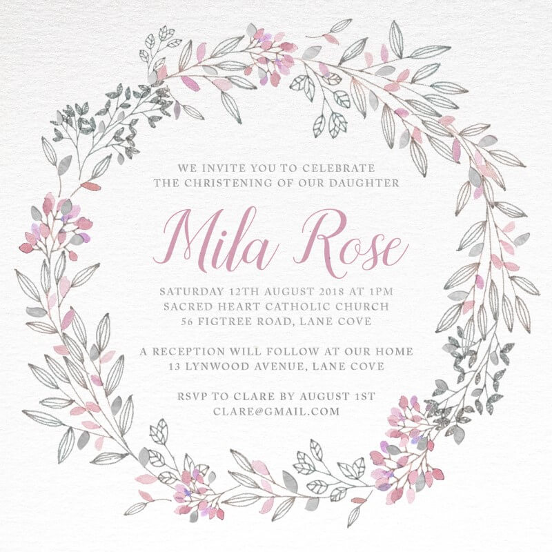 Pink Wreath - Christening Invitations