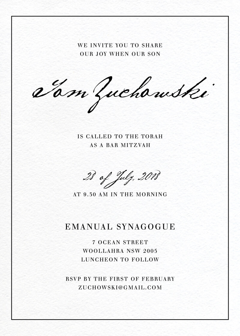 Simple Script - Bar & Bat Mitzvah Invitations