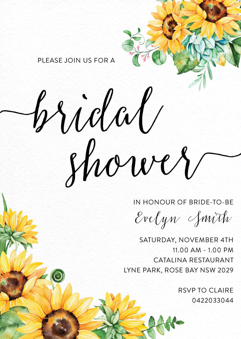 Sunflower - Bridal Shower Invitations