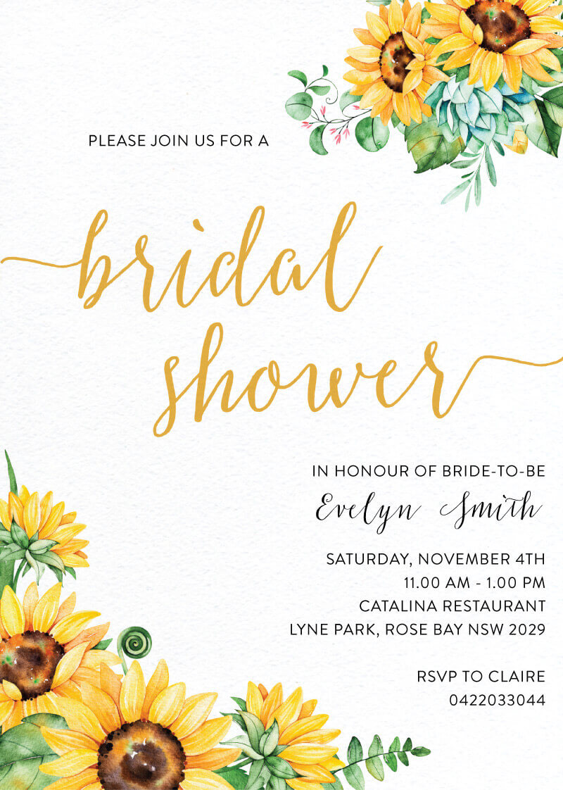 Sunflower - Bridal Shower Invitations