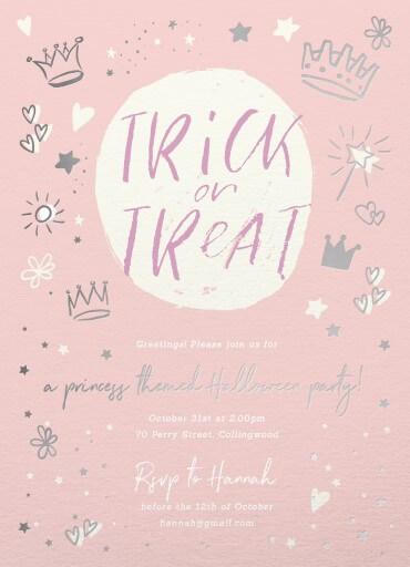 Trick or Treat - kids halloween invitations