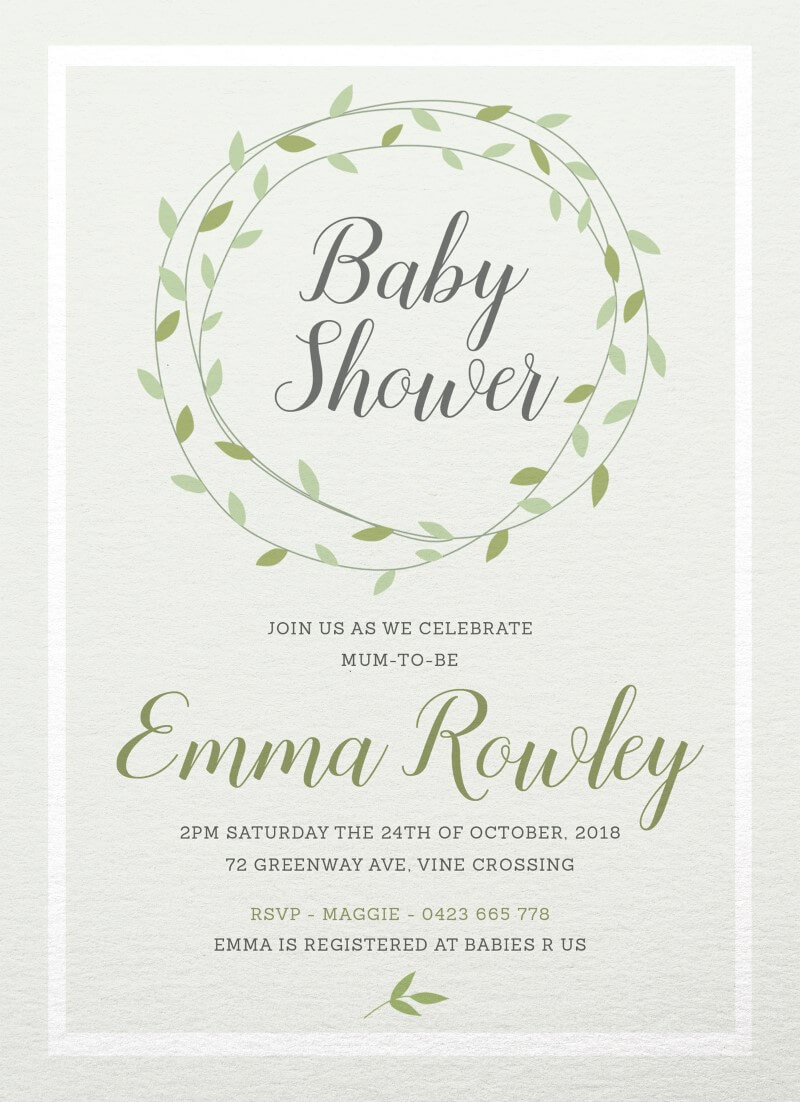 Green Vines - Baby Shower Invitations