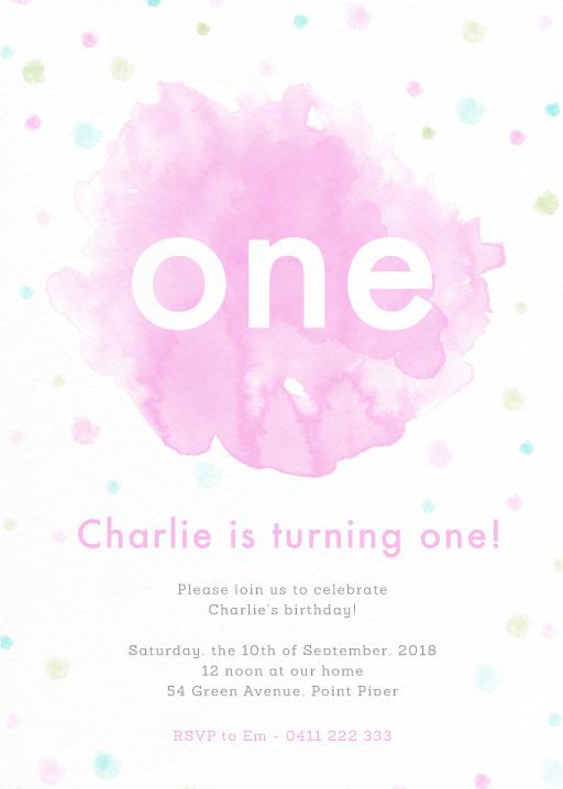 Watercolour Pop - birthday invitations