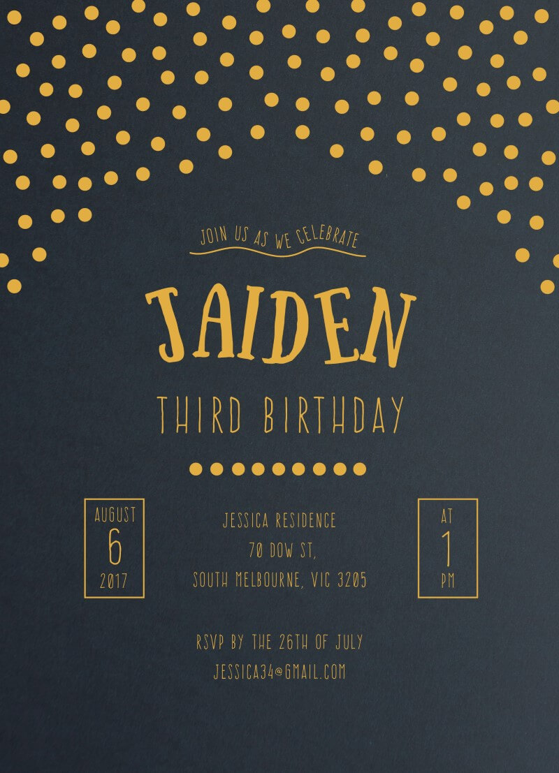 Gold Foil Confetti Patterns - Birthday Invitations