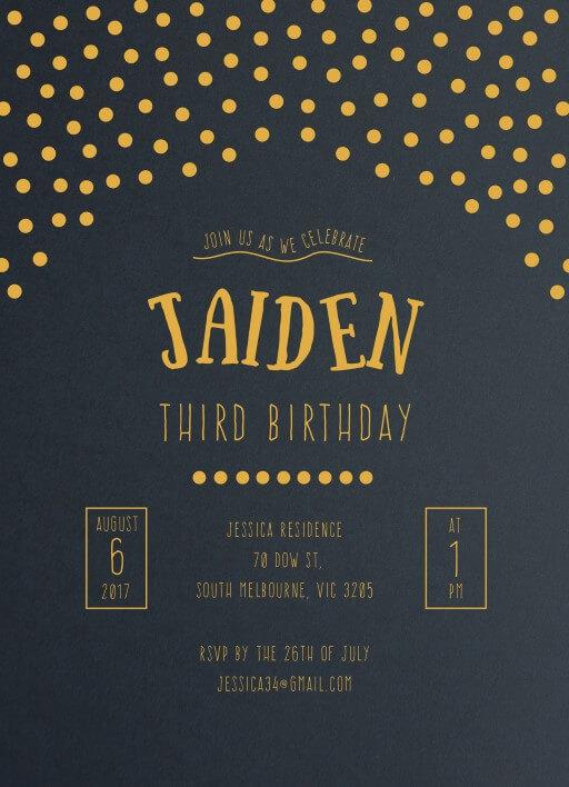 Gold Foil Confetti Patterns - birthday invitations