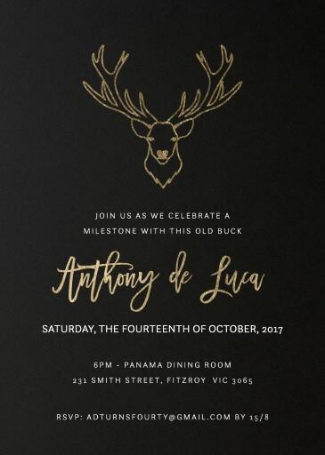 Old Buck - birthday invitations