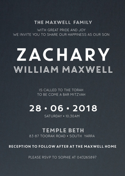 White Blue - bar & bat mitzvah invitations