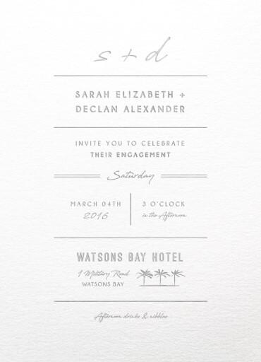 Watsons Bay Hotel - engagement invitations