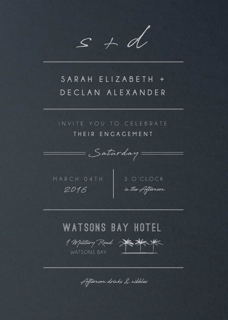 Watsons Bay Hotel - Engagement Invitations