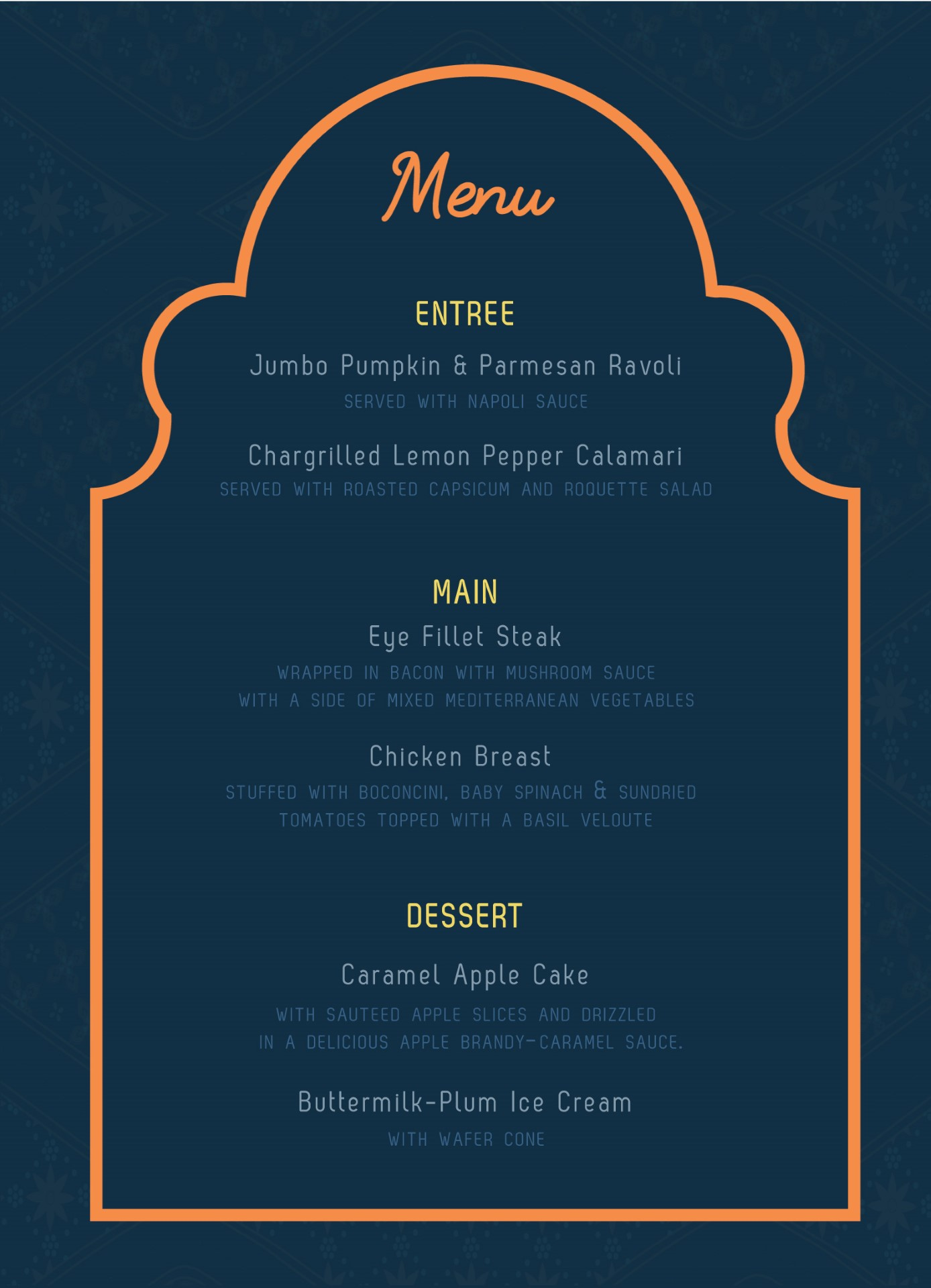 Moroccan Nights - Menu Card