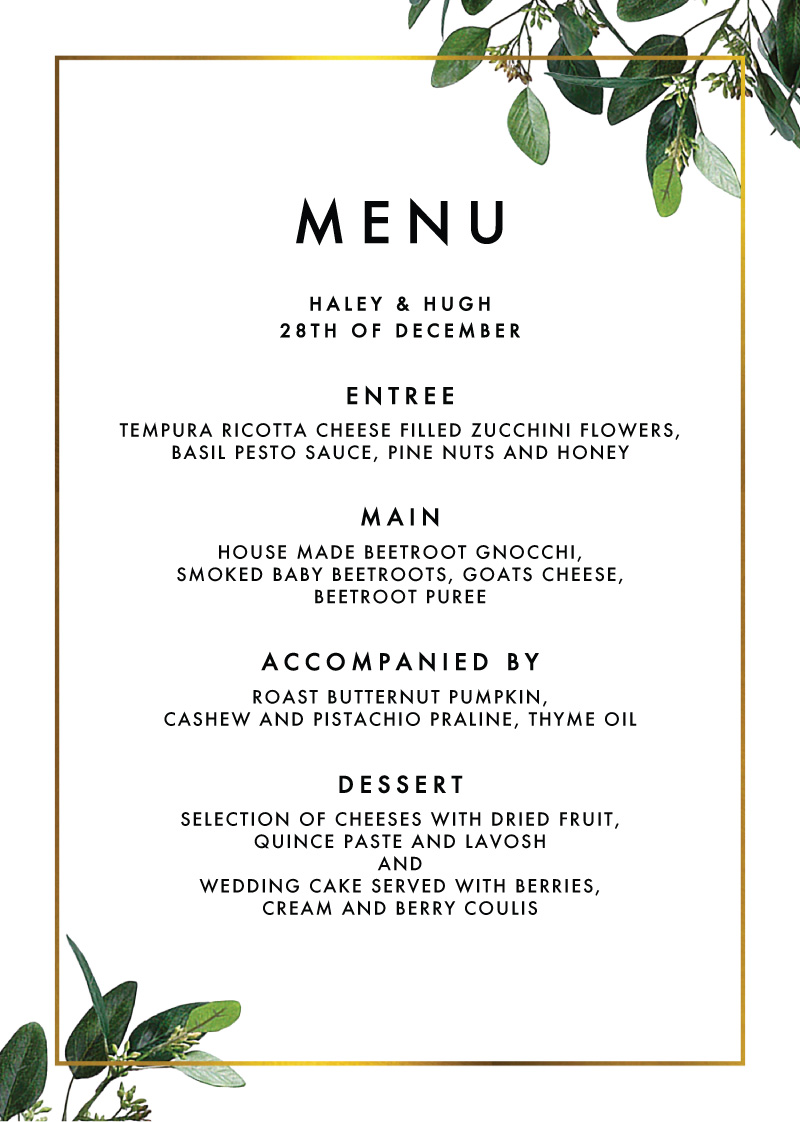 Garden Estate - Menu