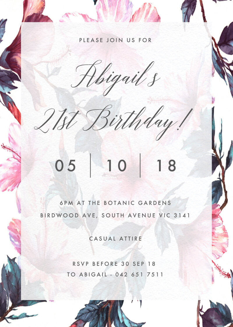 Hibiscus - Birthday Invitations