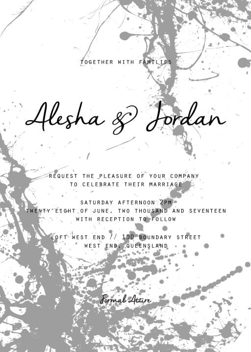 Splatter Wedding Invitations - wedding invitations