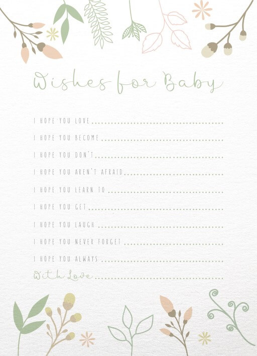 Wishes for Baby - baby shower games