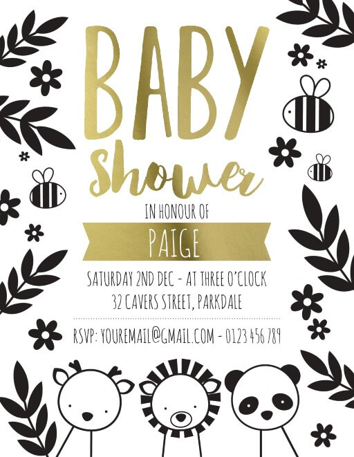 Baby Zoo - baby shower invitations