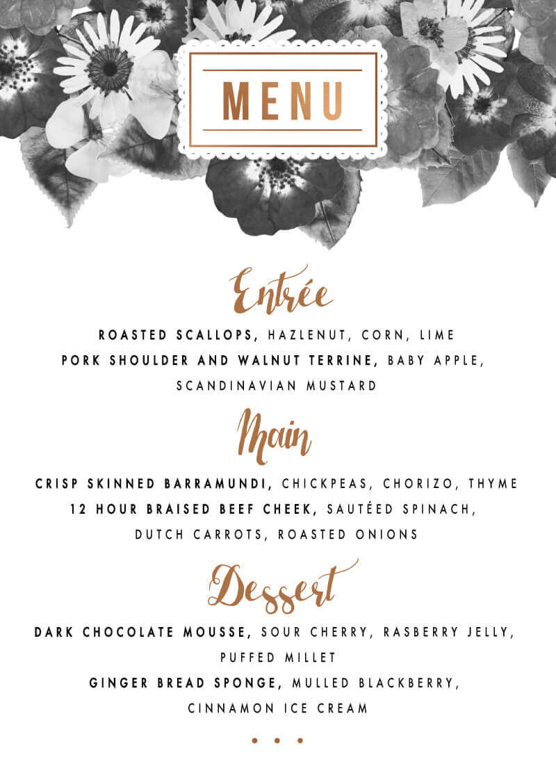 Spring Collection - Menu