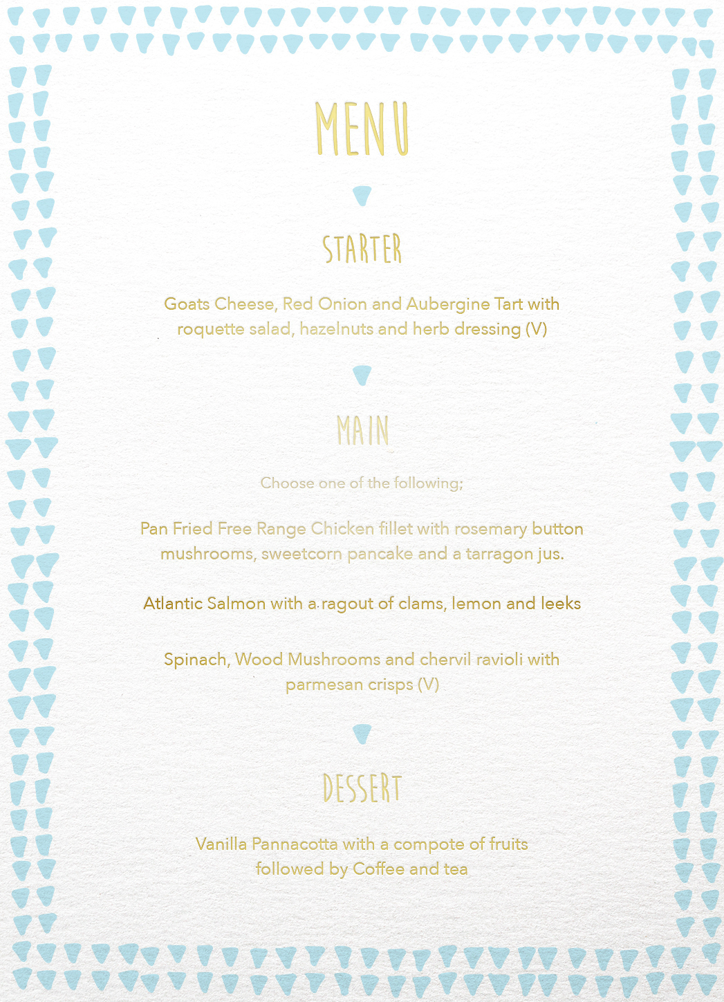 Droplets - Menu Card