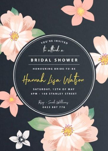 Floral Bride - bridal shower invitations