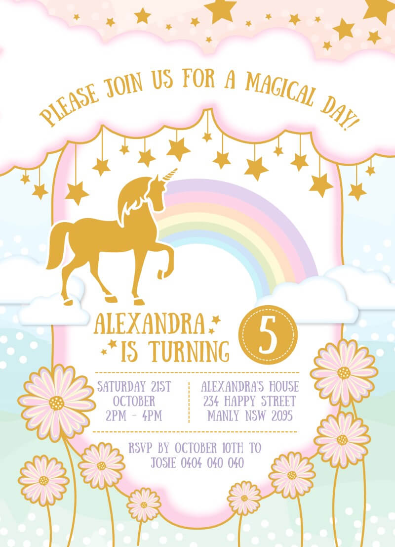Magical Unicorn Invitation - Birthday Invitations