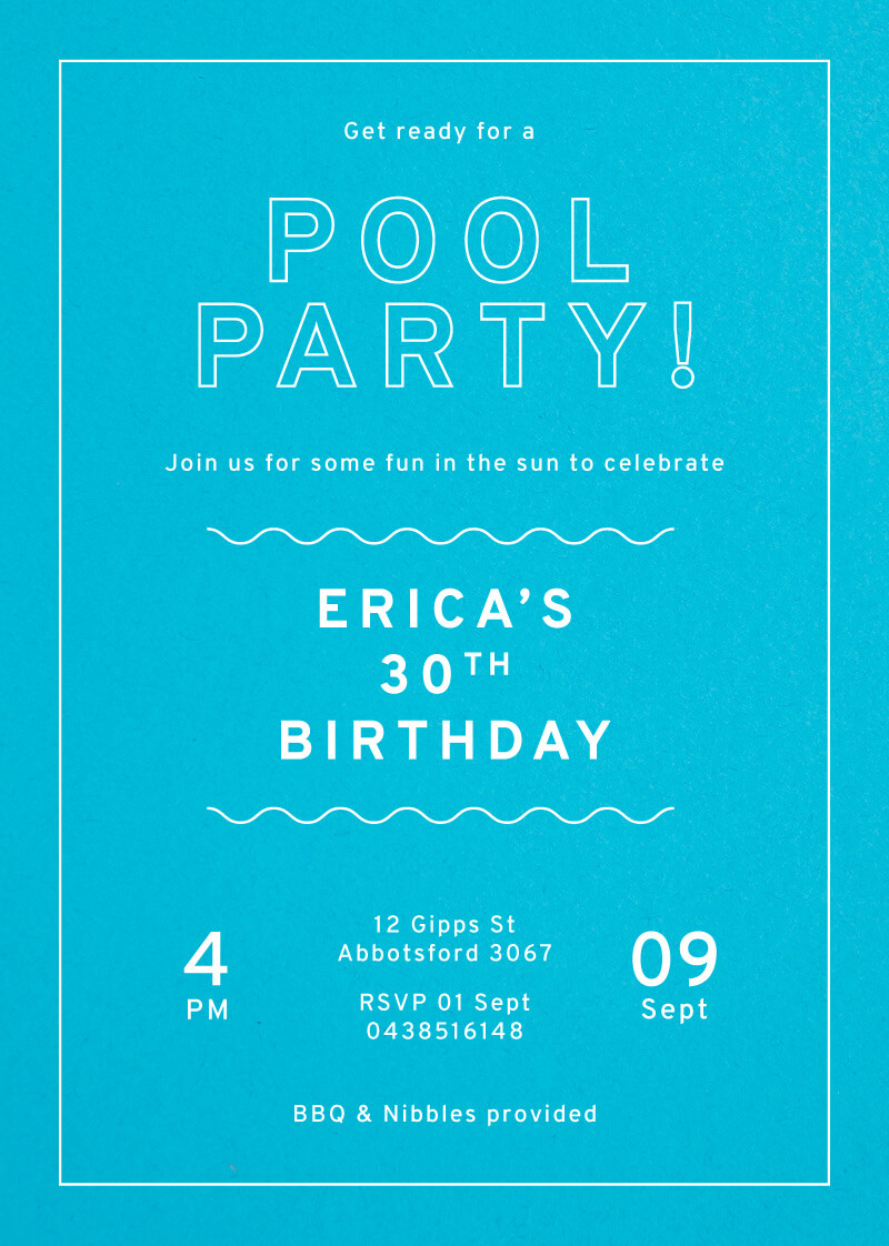 Pool Party - Birthday Invitations