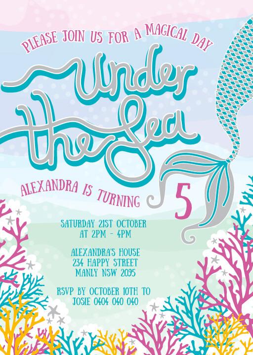 Under The Sea - birthday invitations