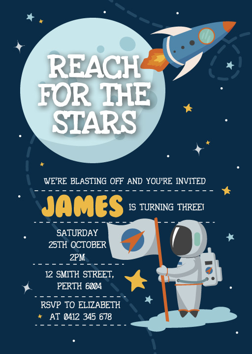 Reach for the stars - birthday invitations