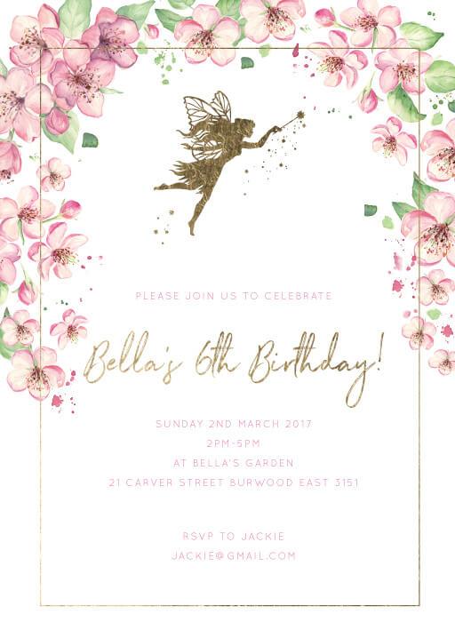 Fairy Garden - birthday invitations