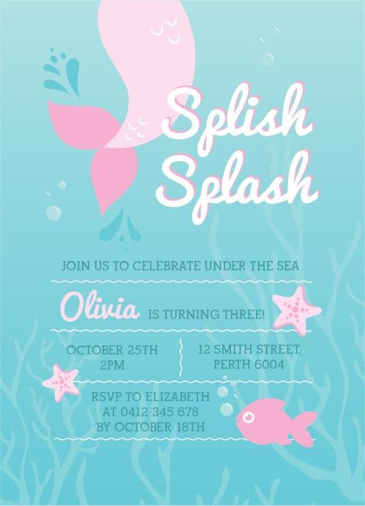 Splish Splash - birthday invitations