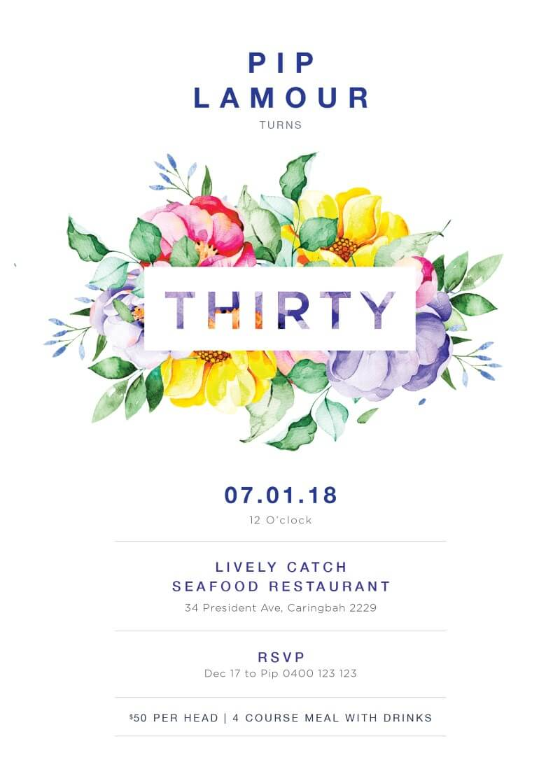 Bright and Floral Birthday Invitation - Birthday Invitations