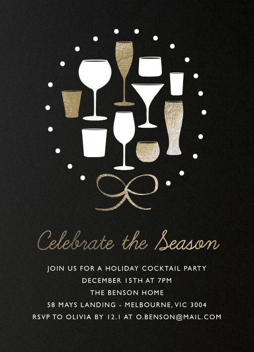 Cocktail Wreath - christmas party invitations