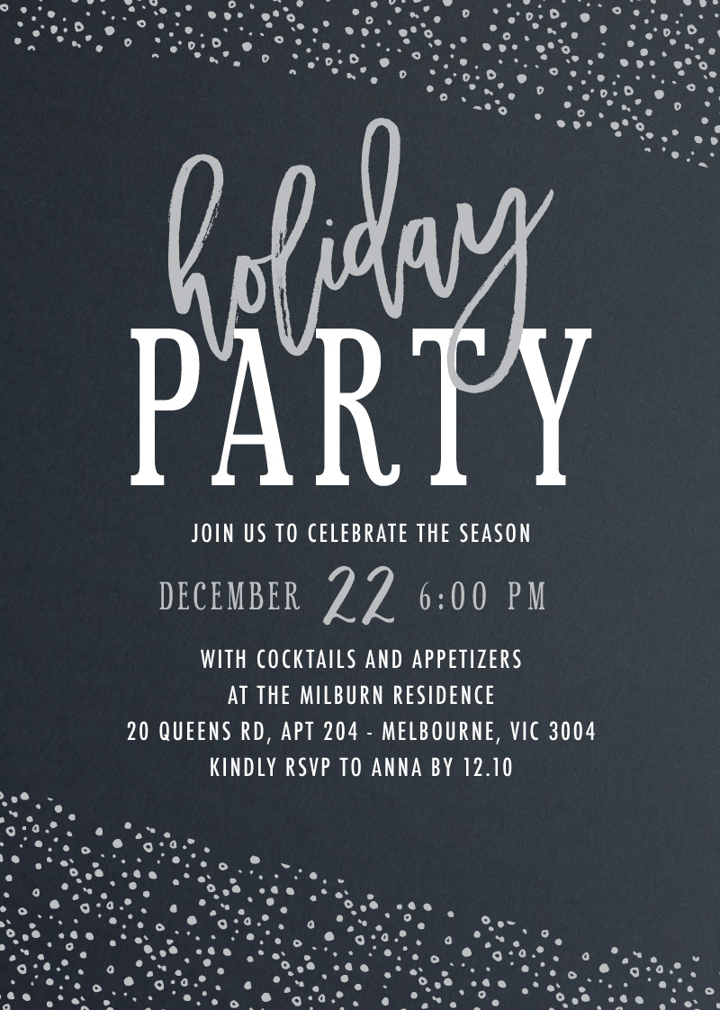 Silver Snow - Christmas Party Invitations