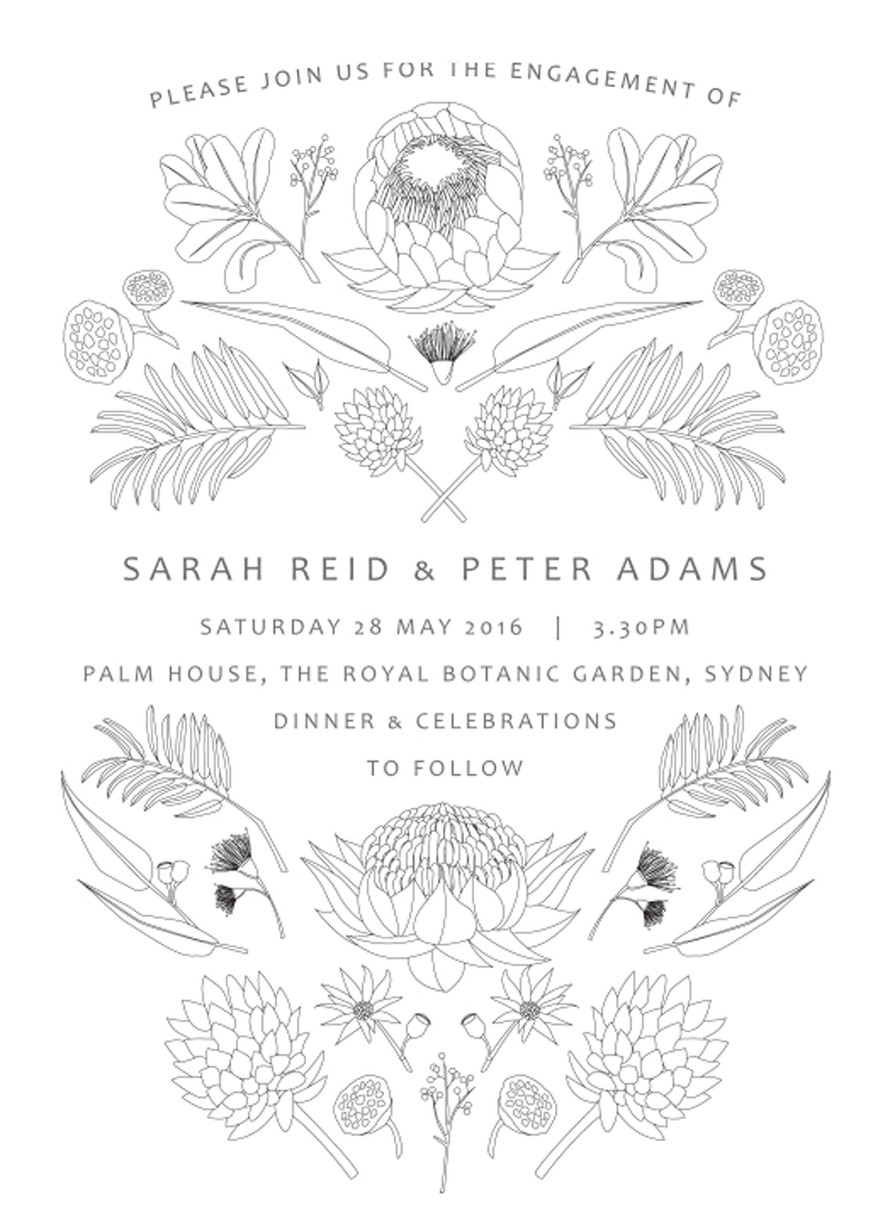 Australian Native Colour In - engagement invitations