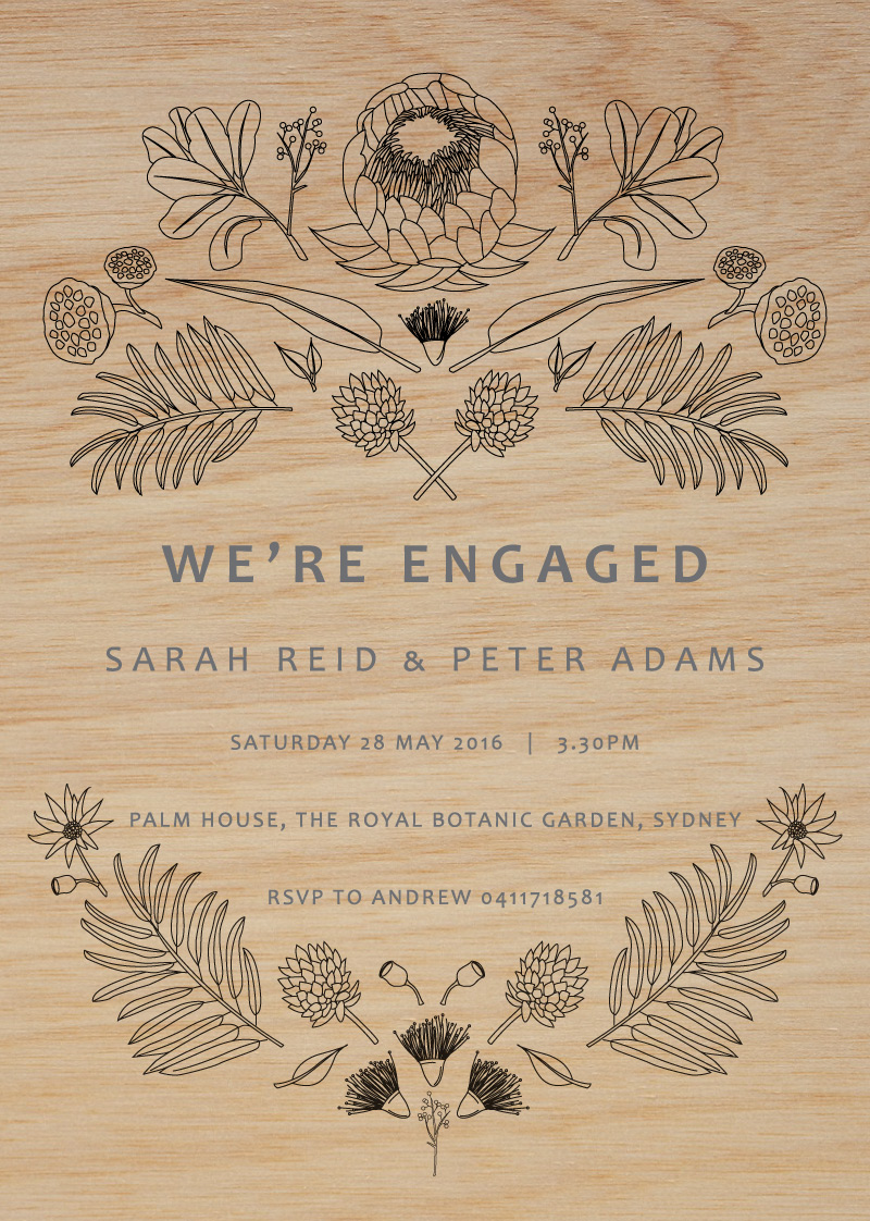 Australian Native Colour-In - Engagement Invitations