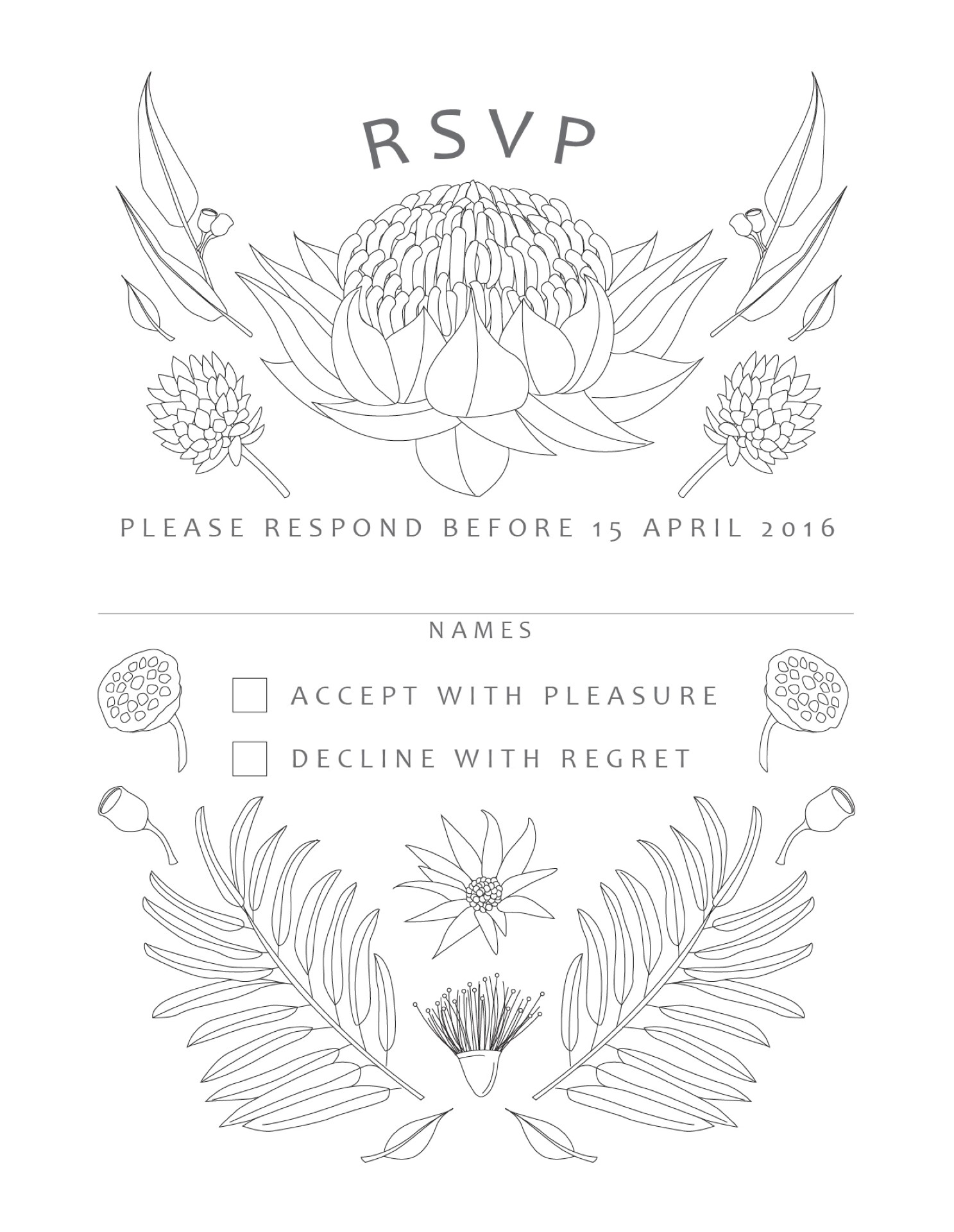 Australian Native Colour-In - RSVP Card