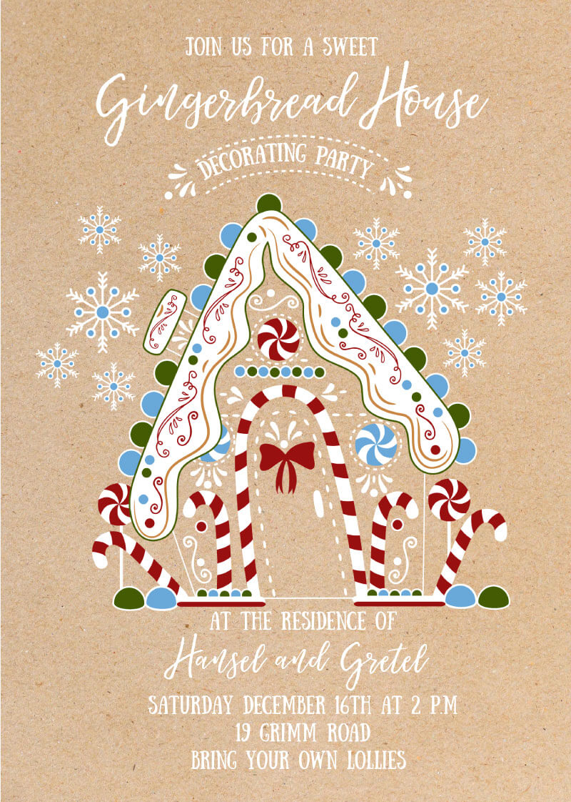 Lebkuchenhaus - Christmas Party Invitations
