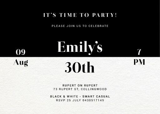 Black and White - birthday invitations