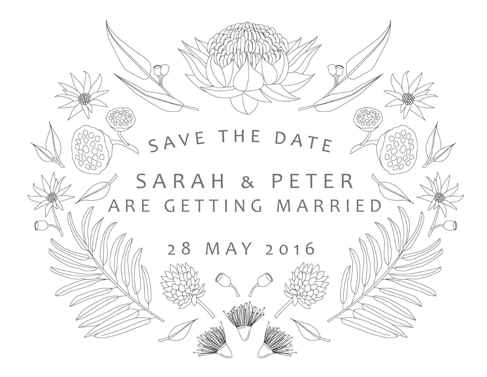 Australian Native Colour In - Save The Date