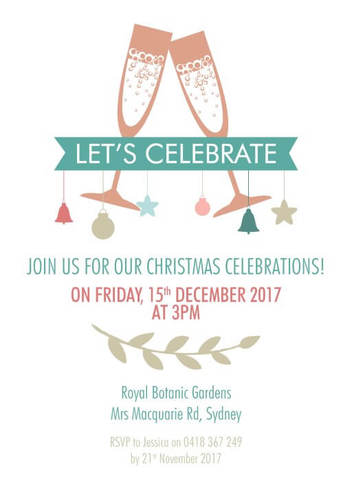 Lets Celebrate - christmas party invitations