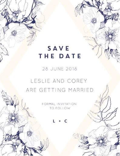 Blue Contour Save The Date - Save The Date