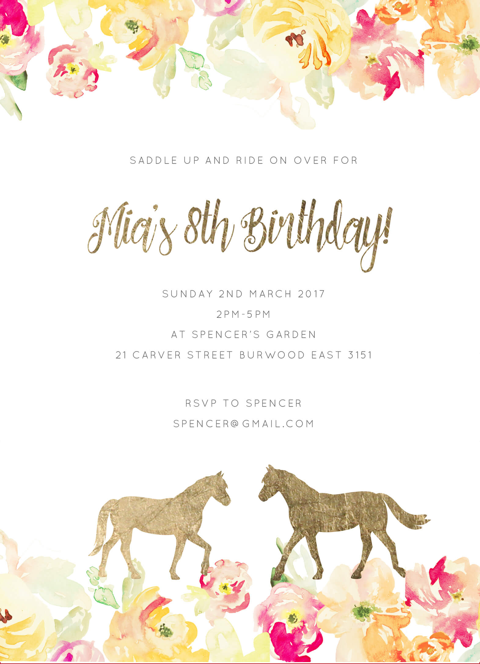 Saddle - Birthday Invitations