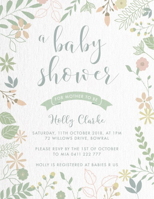 Spring Blooms - baby shower invitations